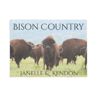 """Personalized """"Bison Country"""" Doormat"""