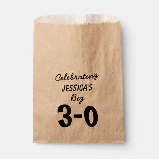 Personalized Black 30th Birthday Favour Bag