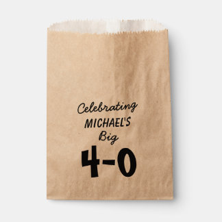 Personalized Black 40th Birthday Favour Bag