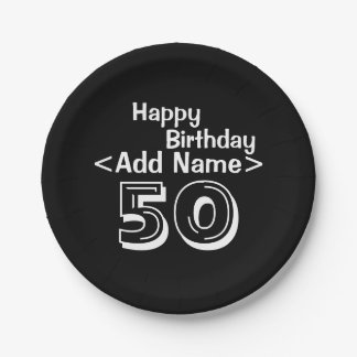"""Personalized Black 50th Birthday 7"""" Paper Plates"""
