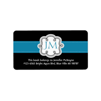Personalized Black and Aqua Ladies  Bookplate Label