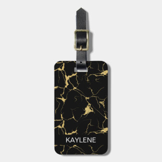 Personalized Black and Gold Marble Luggage Tag