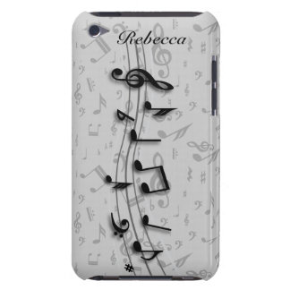 Personalized black and gray musical notes iPod touch Case-Mate case