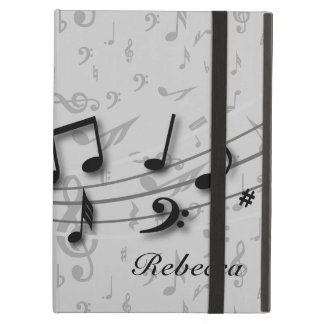 Personalized black and gray musical notes iPad air cases