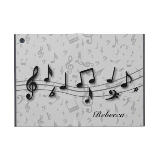 Personalized black and gray musical notes iPad mini case