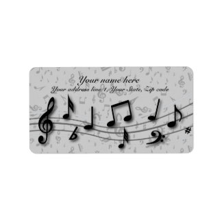 Personalized black and gray musical notes labels