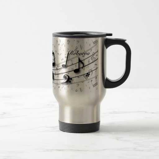 Personalized black and gray musical notes coffee mugs