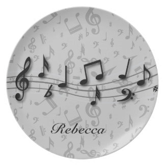 Personalized black and gray musical notes plate