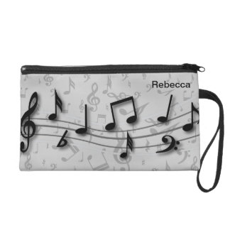 Personalized black and gray musical notes wristlet purse