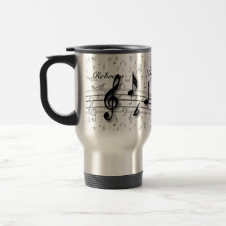 Personalized Black and Grey Musical Notes Stainless Steel Travel Mug