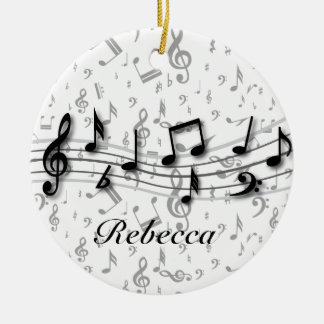 Personalized Black and Grey Musical Notes Round Ceramic Ornament