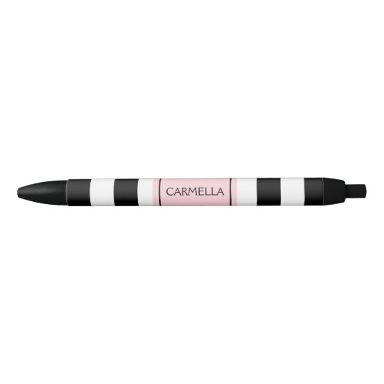Personalized Black and Pink Striped Pen