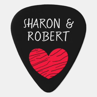 Personalized Black and Red Heart Couple Guitar Pic Guitar Pick