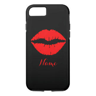 Personalized Black and Red Lipstick Print iPhone 7 Case