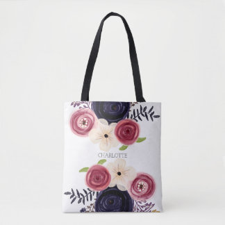 Personalized Black And Red Rose Flower Watercolor Tote Bag