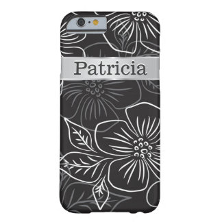 Personalized Black And Silver Floral Pattern Barely There iPhone 6 Case
