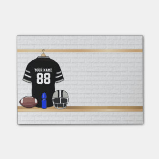 Personalized Black and Silver Gray Football Jersey Post-it Notes