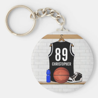 Personalized Black and White Basketball Jersey Basic Round Button Keychain