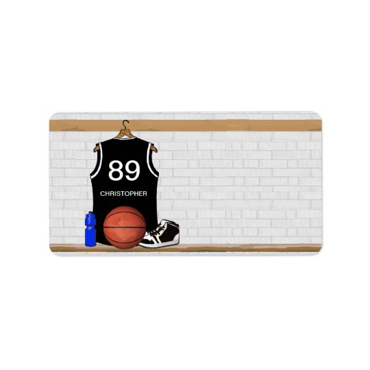 Personalized Black and White Basketball Jersey Label