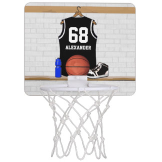 Personalized Black and White Basketball Jersey Mini Basketball Hoop
