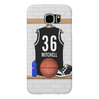 Personalized Black and White Basketball Jersey Samsung Galaxy S6 Cases