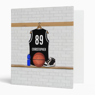 Personalized Black and White Basketball Jersey Vinyl Binders