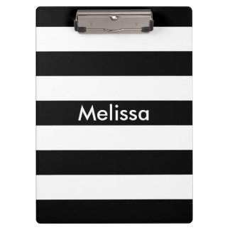 Personalized black and white bold striped modern clipboard