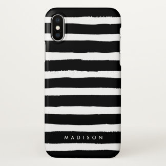 Personalized Black and White Brushed Stripe iPhone X Case