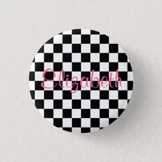 Personalized Black and White Checkerboard Button