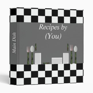 Personalized Black and White Checkerboard Cookbook 3 Ring Binders