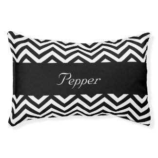 Personalized Black and White Chevron Pet Bed