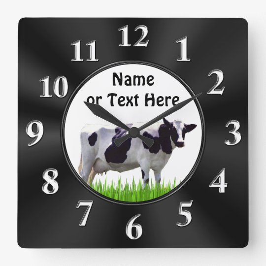 Personalized Black and White COW Clock