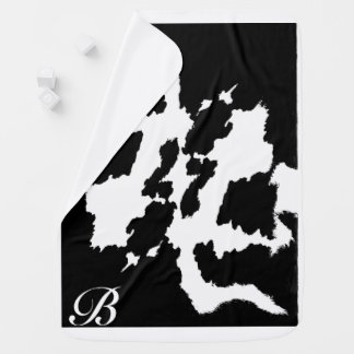 Personalized Black and white Cow Print Pattern Baby Blanket