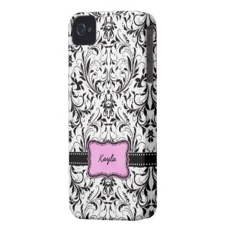 Personalized Black and White Damask iPhone 4 Case-Mate Cases