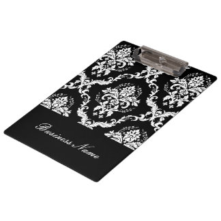 Personalized Black And White Damask Pattern Clipboards