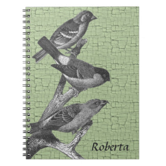 Personalized Black and White Finch Birds Spiral Notebook