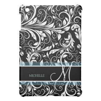 Personalized Black and White Floral Damask Cover For The iPad Mini