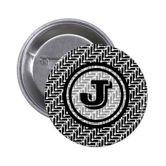 Personalized Black and White Geometric Pattern 2 Inch Round Button