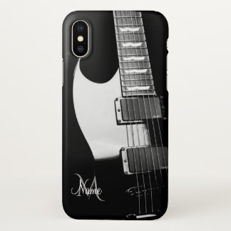 Personalized Black and White Guitar iPhone X Case