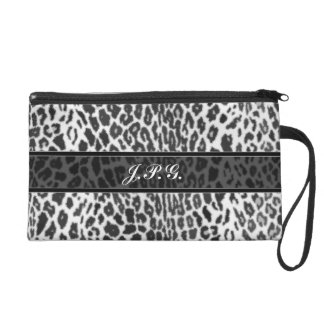 Personalized Black and White Leopard Animal Print Wristlet Purses