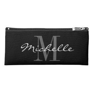 Personalized black and white monogram pencil case