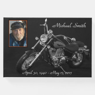 Personalized Black and White Motorcycle Memorial Guest Book