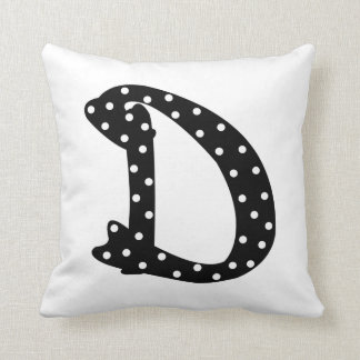 Personalized Black and White Polka Dot Letter D Throw Pillow