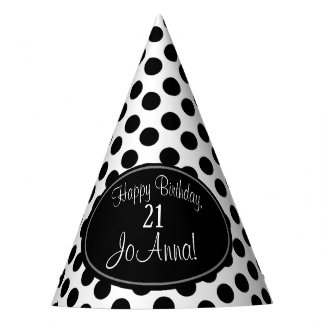 Personalized Black and White Polka Dot Party Hat