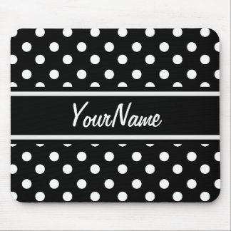 Personalized Black and White Polka Dots Pattern Mouse Pad
