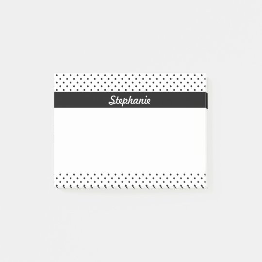 Personalized Black and White Polka Dots Post-it® Notes