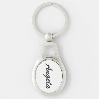 Personalized Black and White Polka Dots Silver-Colored Oval Keychain