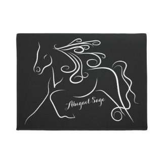 Personalized Black and White Silhouette Horse Doormat