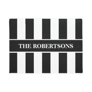 Personalized Black and White Striped Doormat