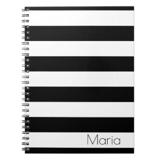 Personalized Black and White Striped Notebook